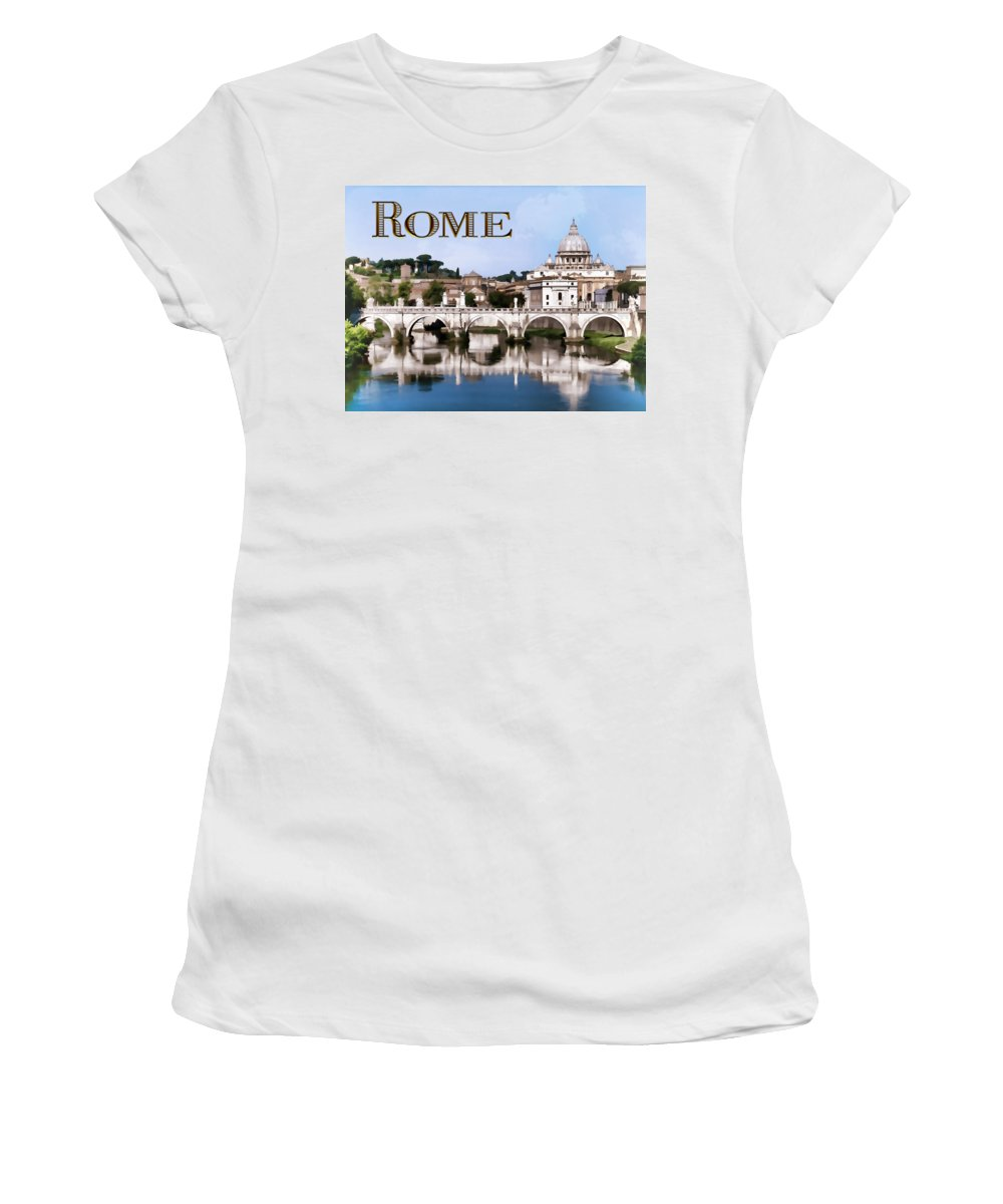 Europe Women's T-Shirt featuring the painting Vatican City Seen From Tiber River Text Rome by Elaine Plesser
