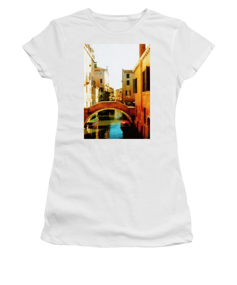 Venice Women's T-Shirt (Athletic Fit) featuring the photograph Venice Italy Canal With Boats And Laundry by Michelle Calkins