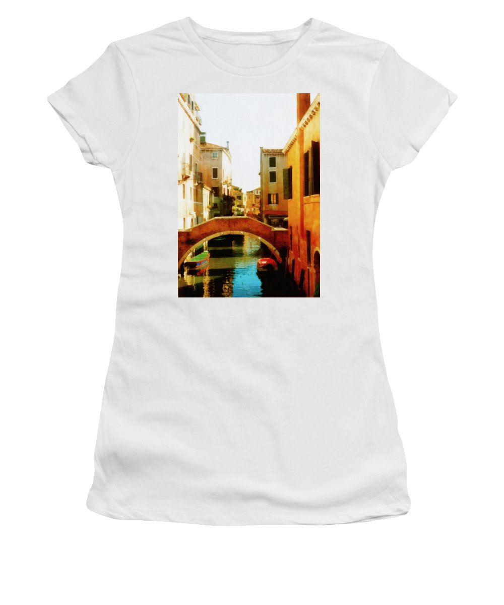 Venezia Women's T-Shirt (Athletic Fit) featuring the photograph Venice Italy Canal With Boats And Laundry by Michelle Calkins