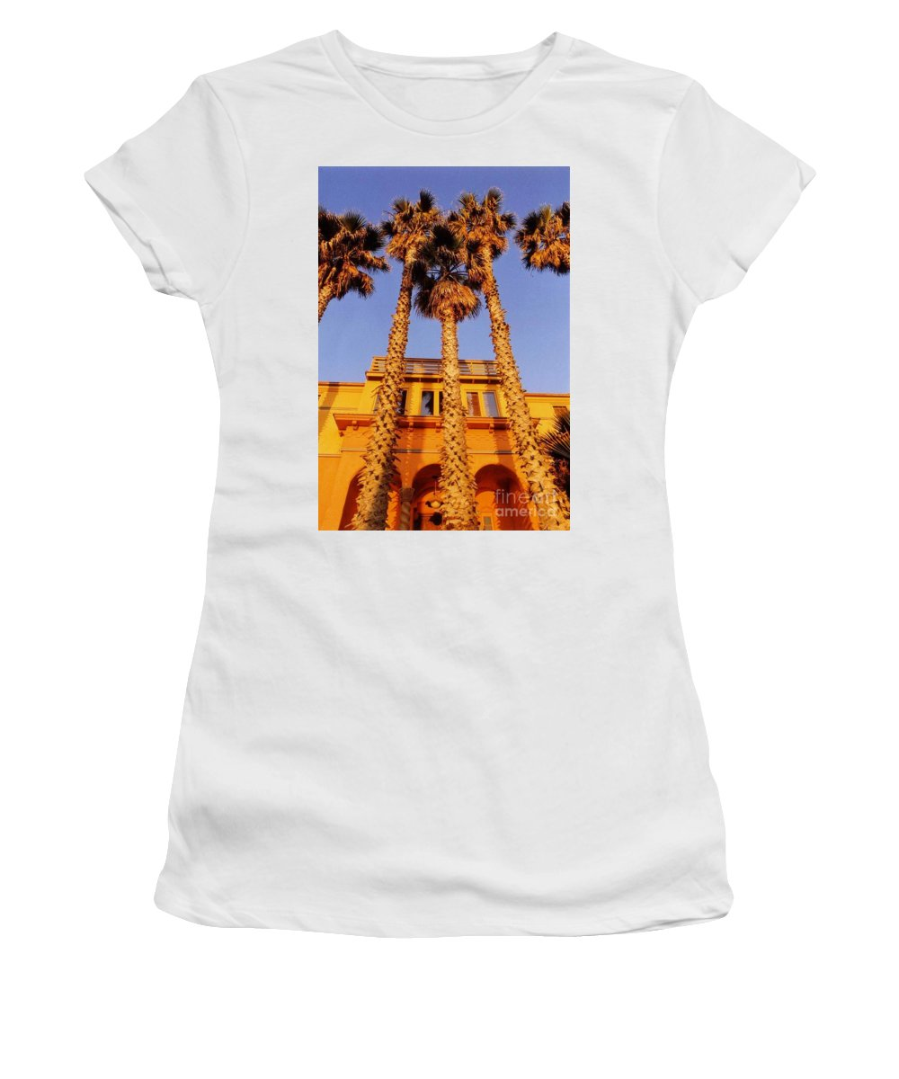 Canvas Print Digital Art Poster Women's T-Shirt (Athletic Fit) featuring the photograph Venice Plams At Sunset by John Malone