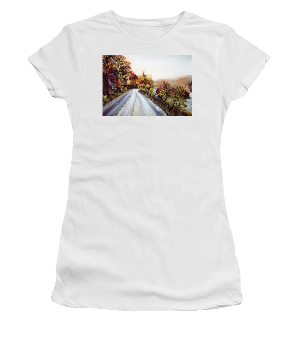 Vermont Road Women's T-Shirt featuring the painting Vermont Road by Pamela Parsons