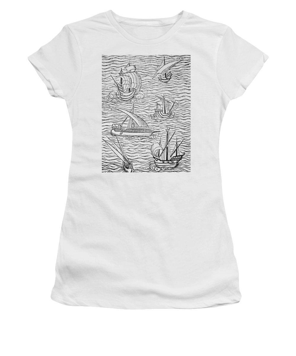 Spanish; Ship; Vessel; Boat; Galleon; Fleet Women's T-Shirt (Athletic Fit) featuring the painting Vessels Of Early Spanish Navigators From The Narrative And Critical History Of American by English School