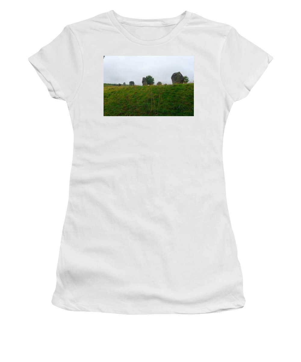 Avebury Women's T-Shirt featuring the photograph View From The Henge by Denise Mazzocco