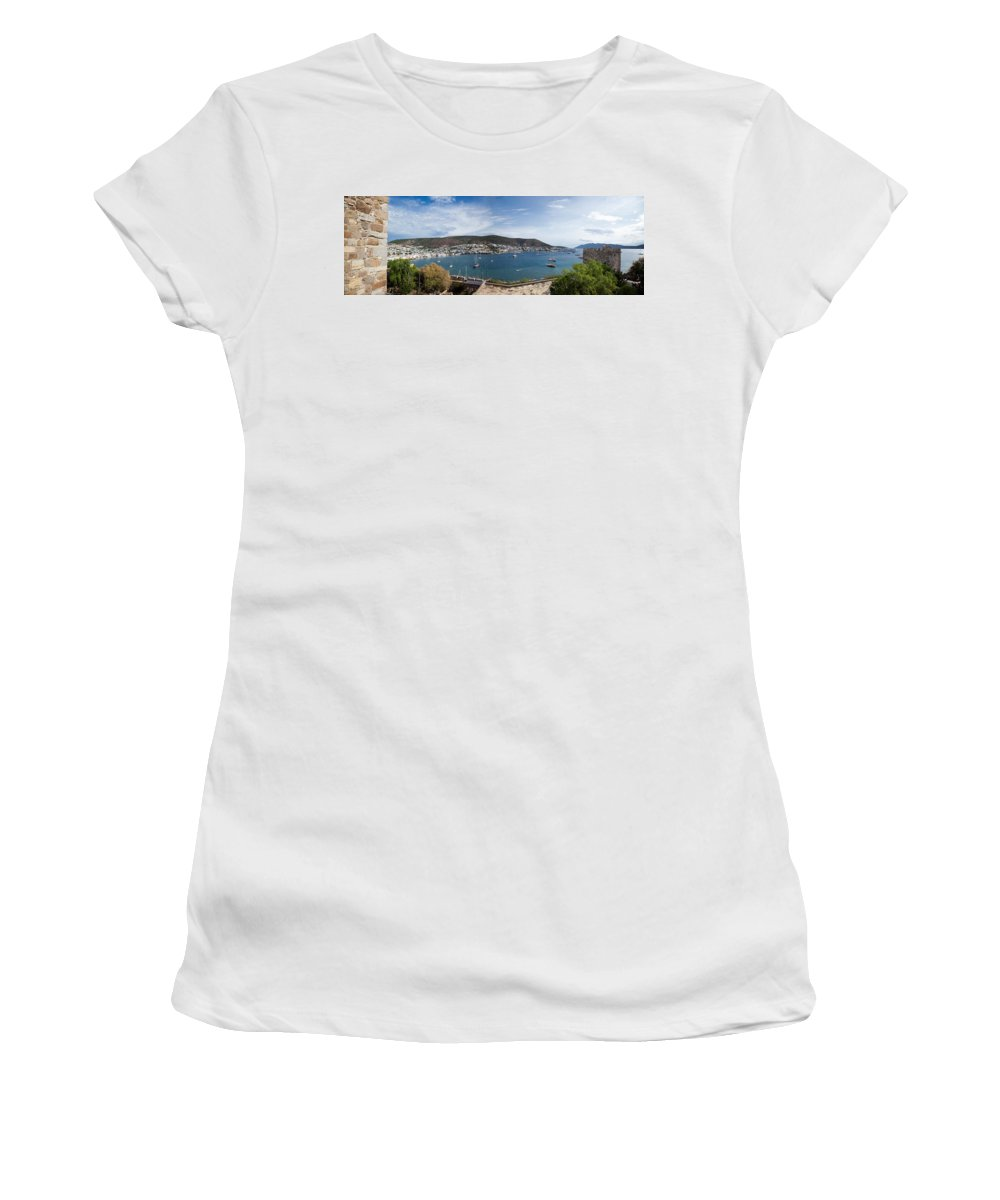 Photography Women's T-Shirt featuring the photograph View Of A Harbor From A Castle, St by Panoramic Images