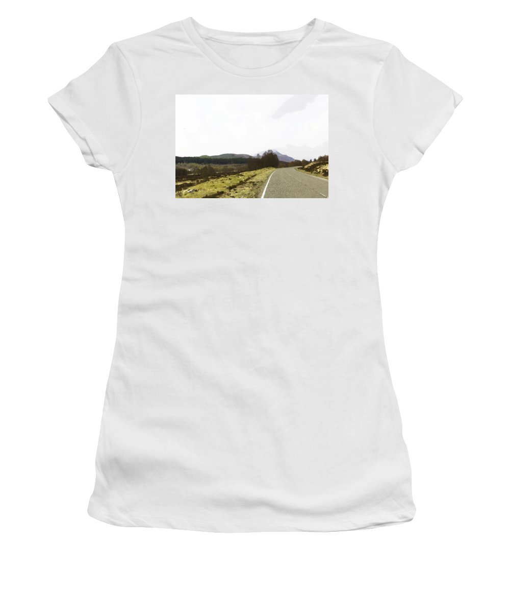 Canon Women's T-Shirt (Athletic Fit) featuring the digital art View Of Highway Running Through The Wilderness Of The Scottish Highlands by Ashish Agarwal