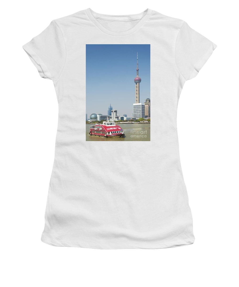 Architecture Women's T-Shirt (Athletic Fit) featuring the photograph View Of Pudong In Shanghai China by Jacek Malipan