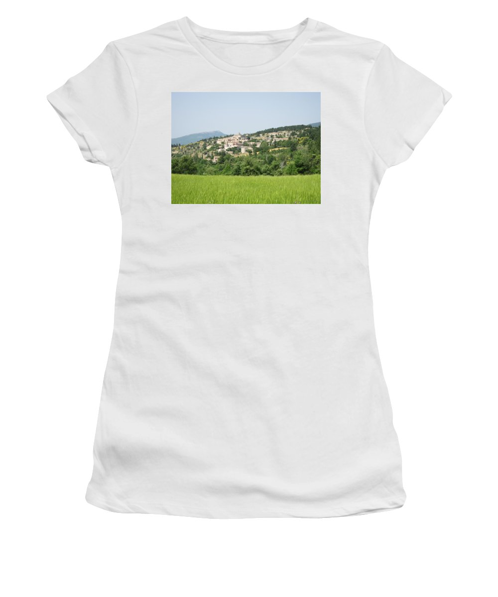 Women's T-Shirt featuring the photograph Village Beyond The Wheat Field by Pema Hou