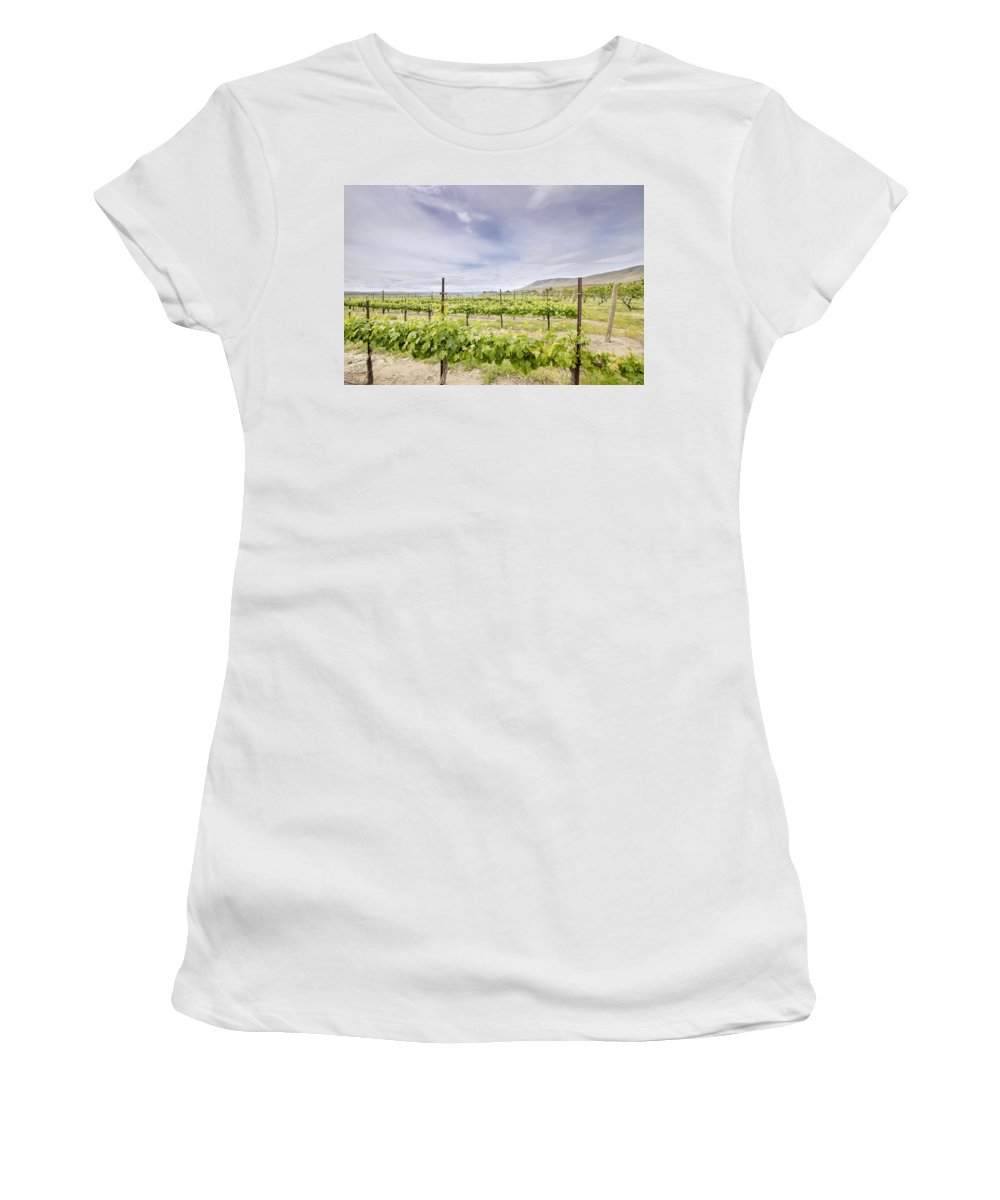 Winery Women's T-Shirt (Athletic Fit) featuring the photograph Vineyard Landscape In Maryhill Washington State by Jit Lim