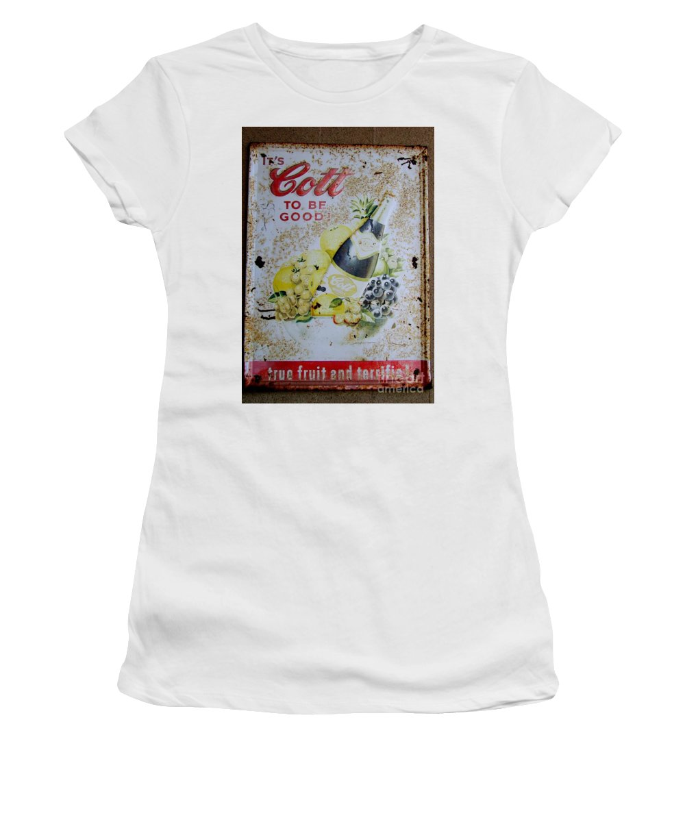 Sign Women's T-Shirt (Athletic Fit) featuring the photograph Vintage Cott Fruit Juice Sign by Mary Deal
