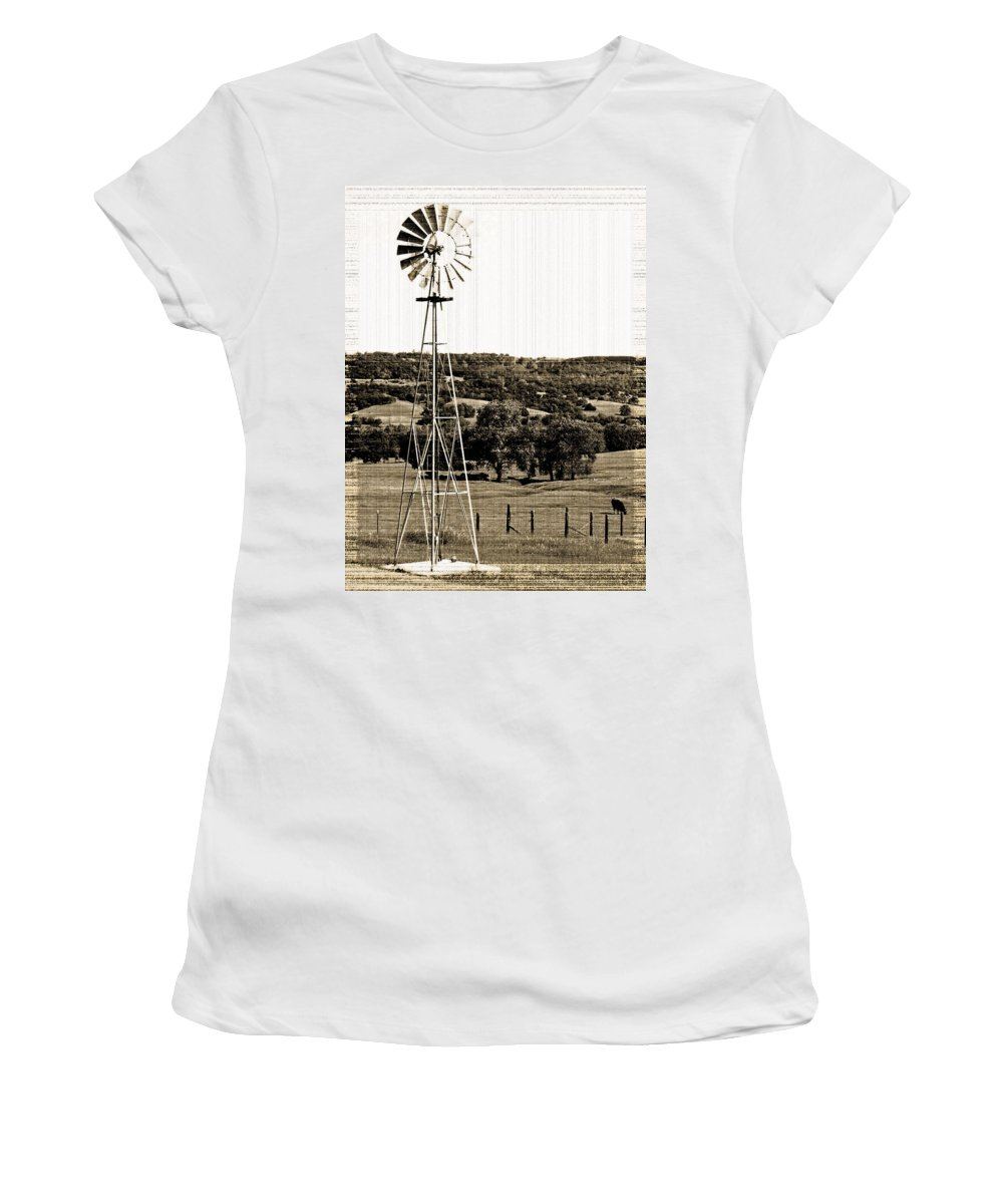 Aerator Women's T-Shirt (Athletic Fit) featuring the photograph Vintage Ranch Windmill by Holly Blunkall
