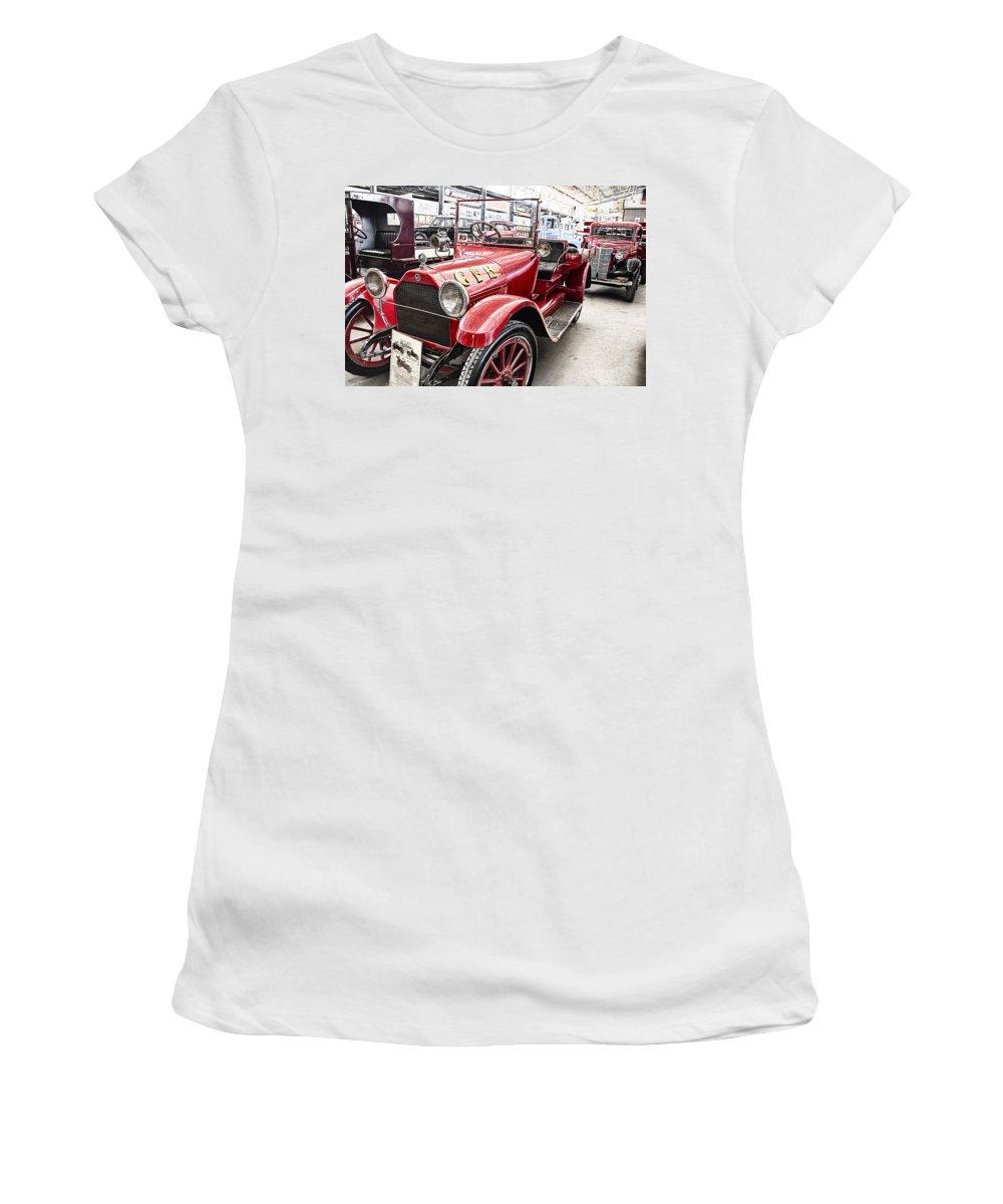 Vintage Studebaker Fire Engine Women's T-Shirt featuring the photograph Vintage Studebaker Fire Engine by Douglas Barnard