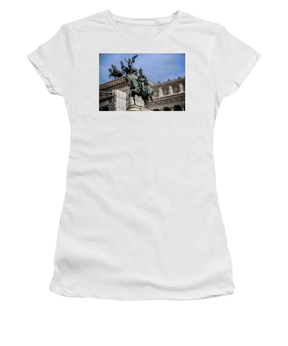Victorian Women's T-Shirt (Athletic Fit) featuring the photograph Vittorio Emanuele II Monument In Rome by Dany Lison