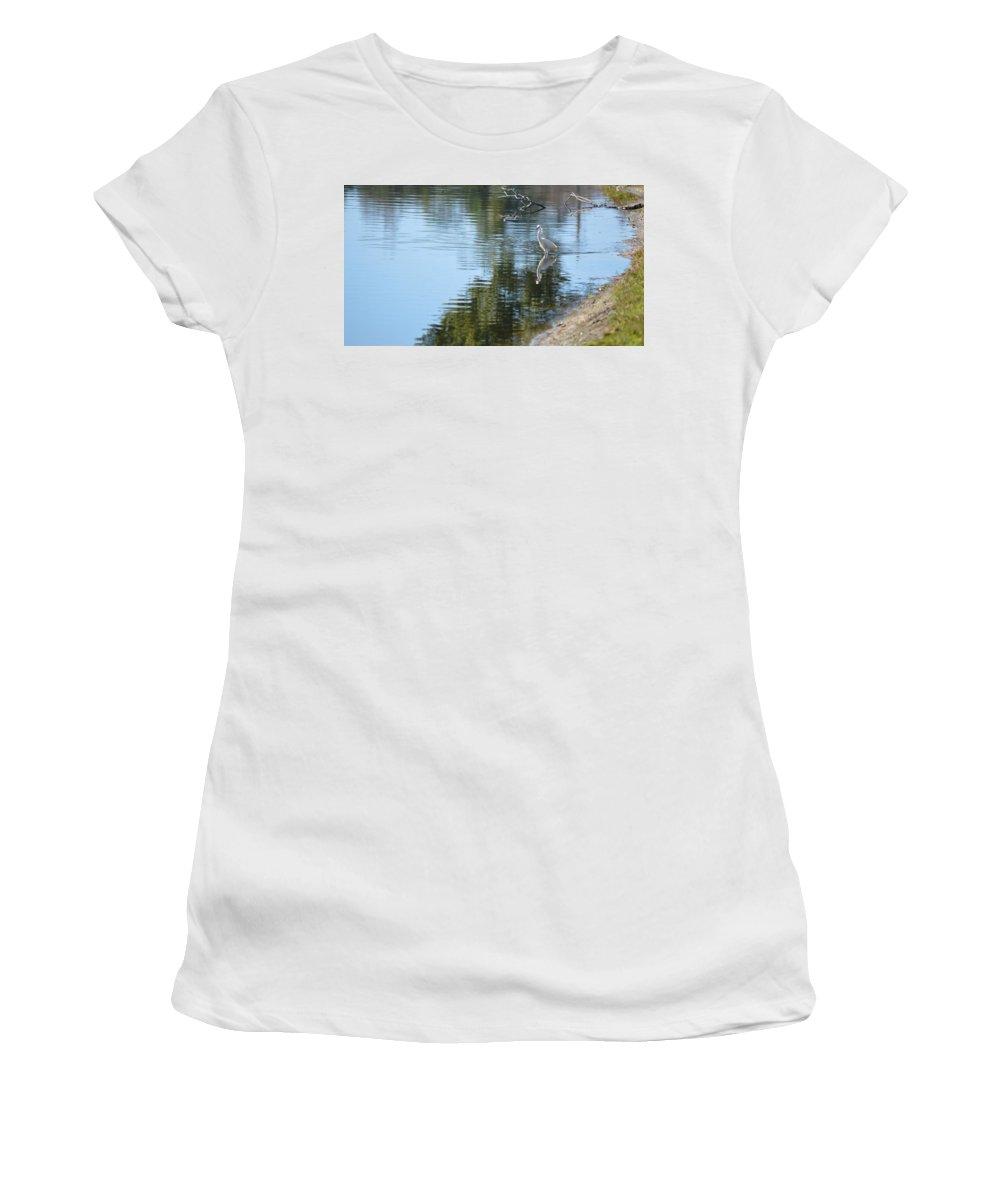 Bird Women's T-Shirt (Athletic Fit) featuring the photograph Wading Bird by Linda Kerkau