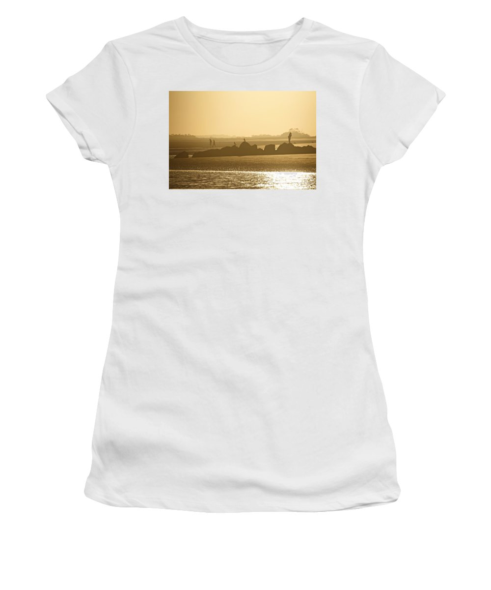 Beach Women's T-Shirt featuring the photograph Waiting For Sunset by Lori Burrows