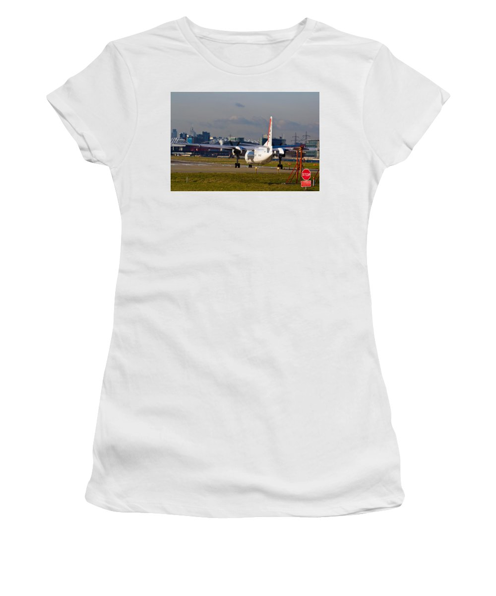 Cityjet Women's T-Shirt (Athletic Fit) featuring the photograph Waiting For Take-off by David Pyatt