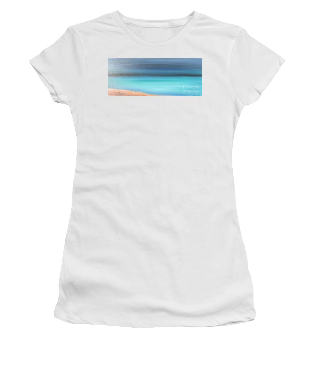 Blue Women's T-Shirt (Athletic Fit) featuring the painting Waiting by Jacqueline Athmann