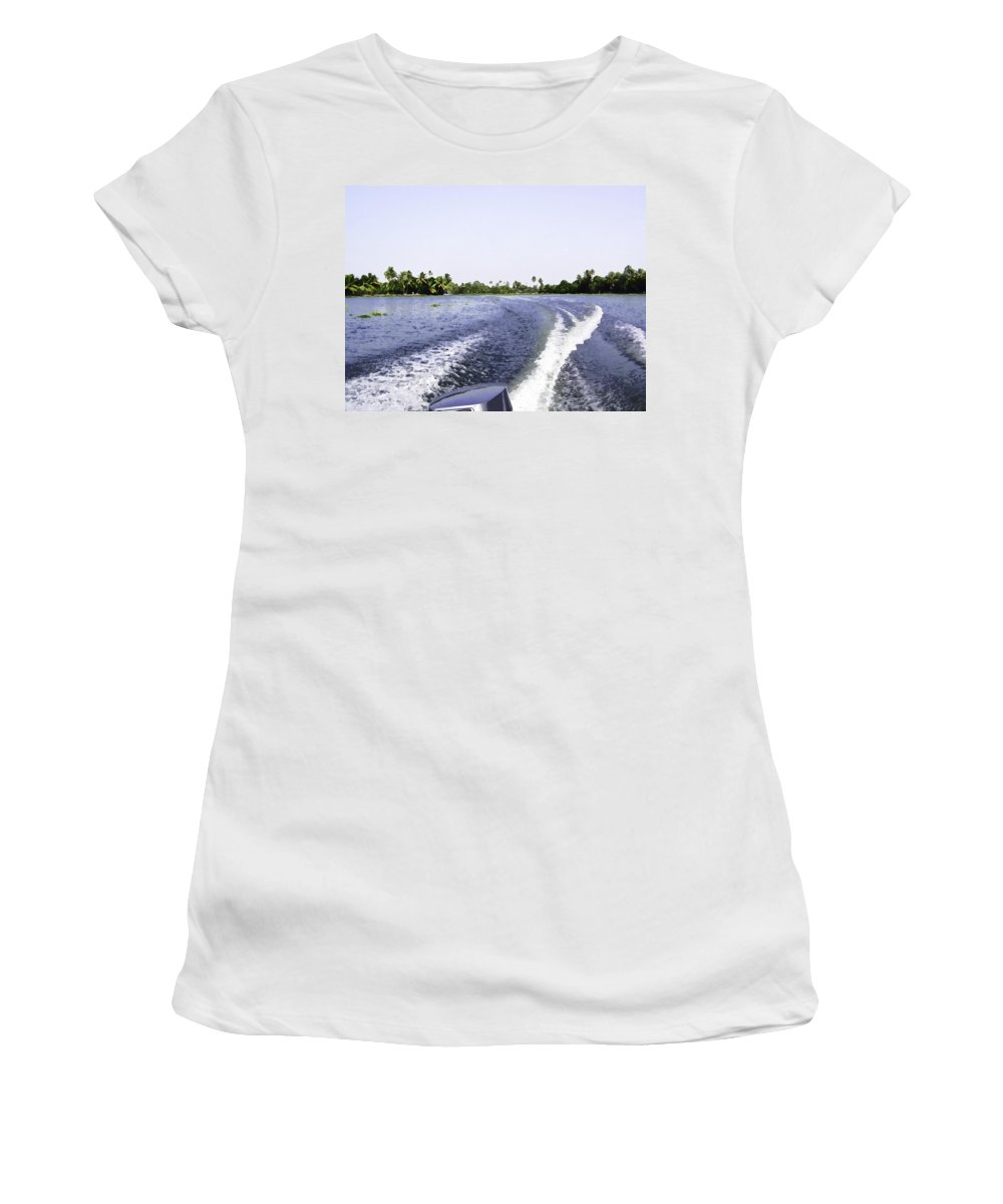 Alleppey Women's T-Shirt (Athletic Fit) featuring the digital art Wake From The Wash Of An Outboard Motor Boat In A Lagoon by Ashish Agarwal