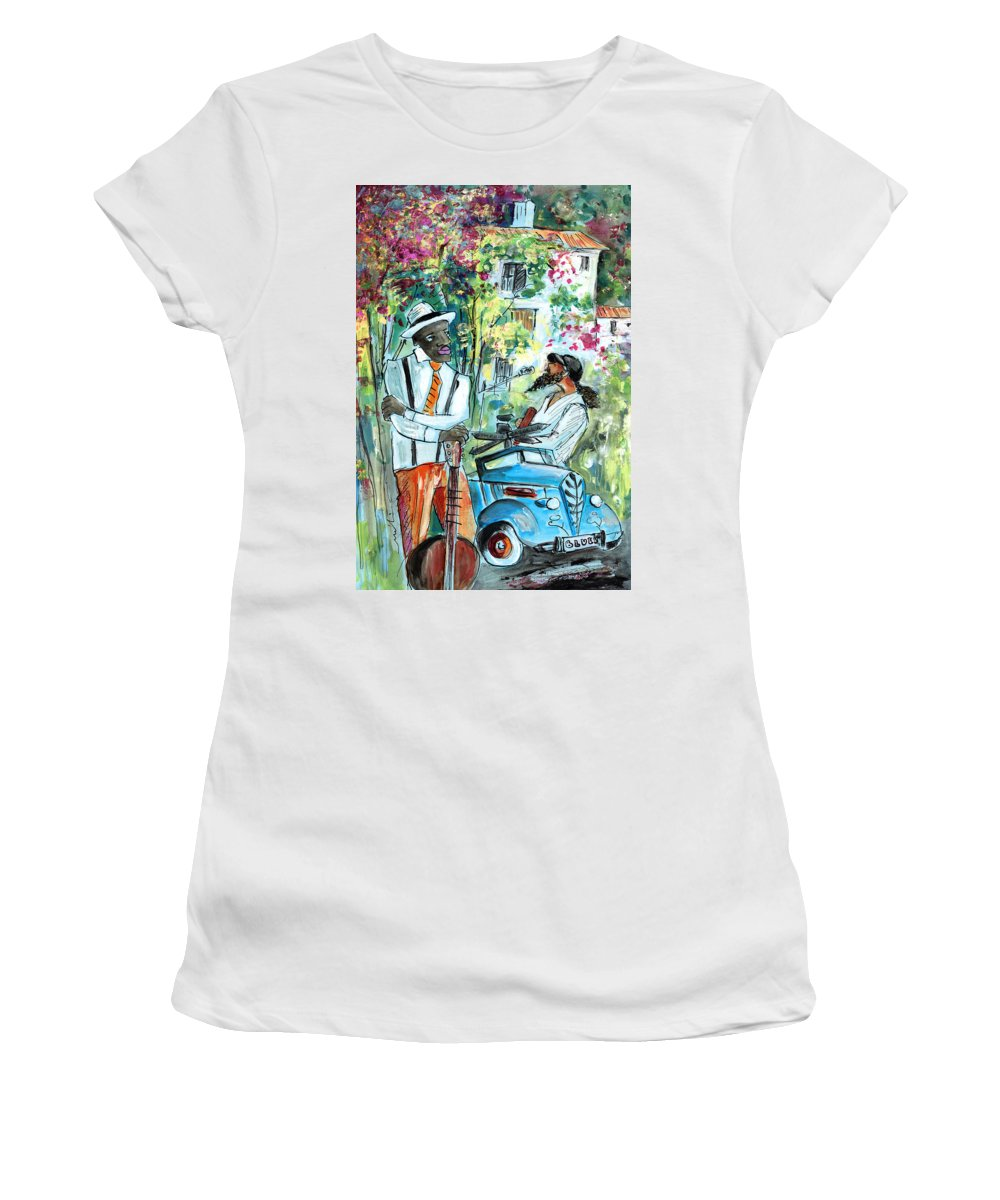 Travel Women's T-Shirt featuring the painting Walking Stick Man At The Blues Festival In Cazorla by Miki De Goodaboom