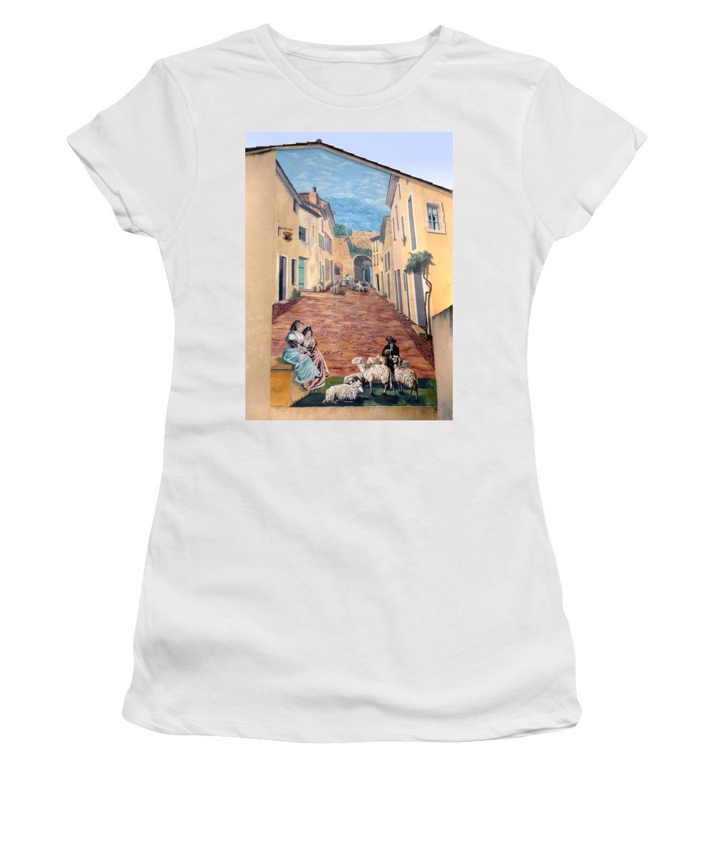 Wall Painting Women's T-Shirt (Athletic Fit) featuring the photograph Wall Painting In Provence by Dave Mills
