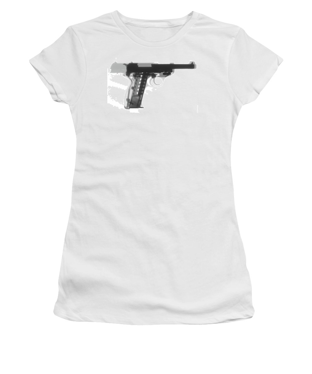 Gun Collectible Women's T-Shirt (Athletic Fit) featuring the photograph Walther P38 X-ray Photograph by Ray Gunz