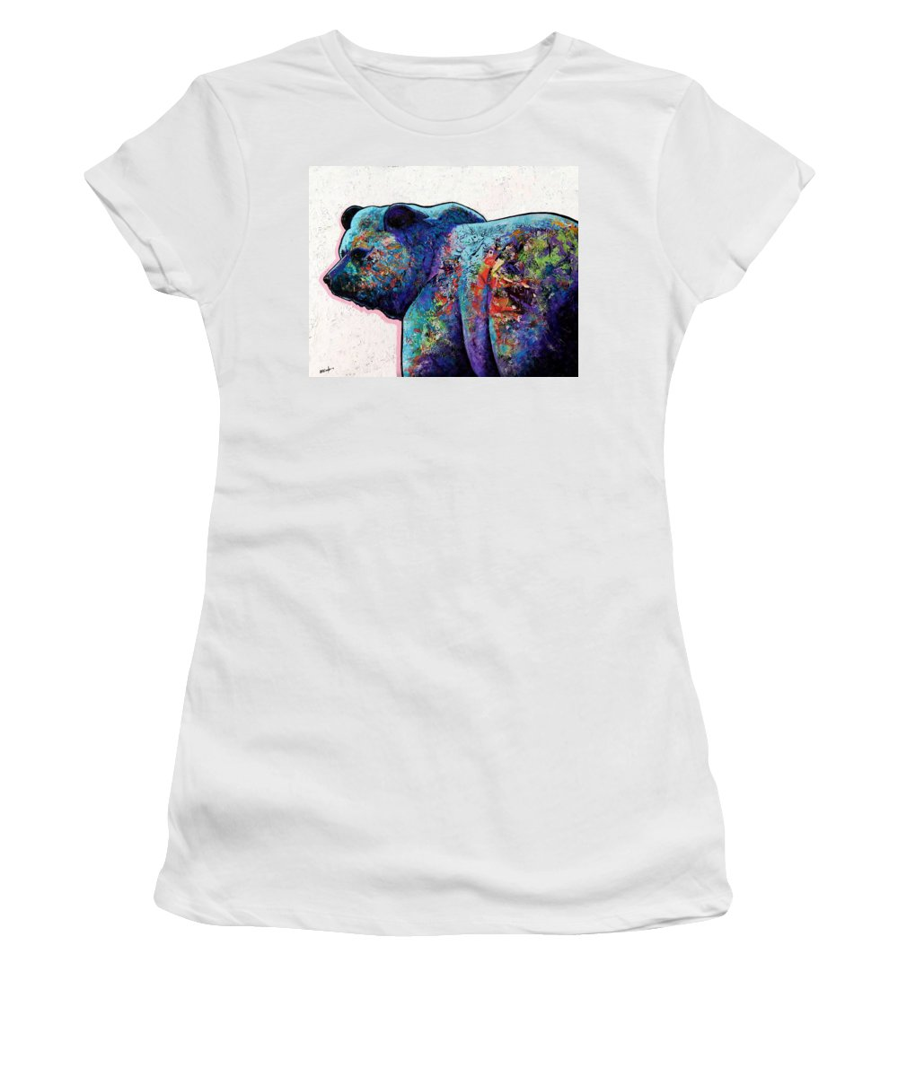 Wildlife Women's T-Shirt (Athletic Fit) featuring the painting Watchful Eyes - Grizzly Bear by Joe Triano