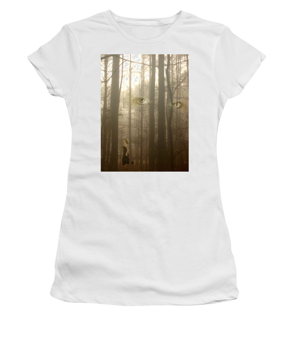 Eyes Women's T-Shirt (Athletic Fit) featuring the photograph Watching by Jan Marvin