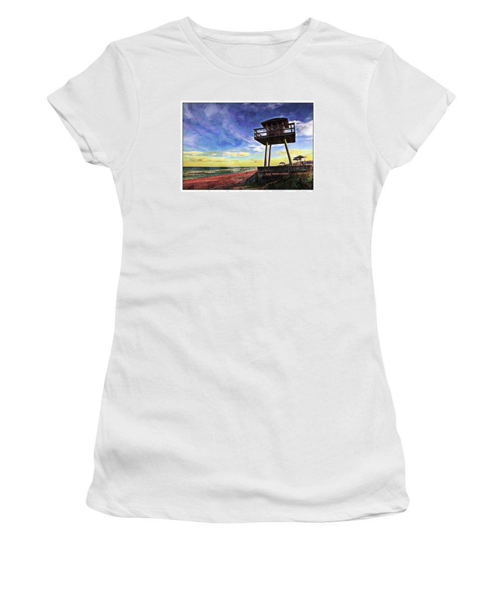 Ww11 Watchtower Women's T-Shirt featuring the photograph Watchtower On The Beach by Alice Gipson