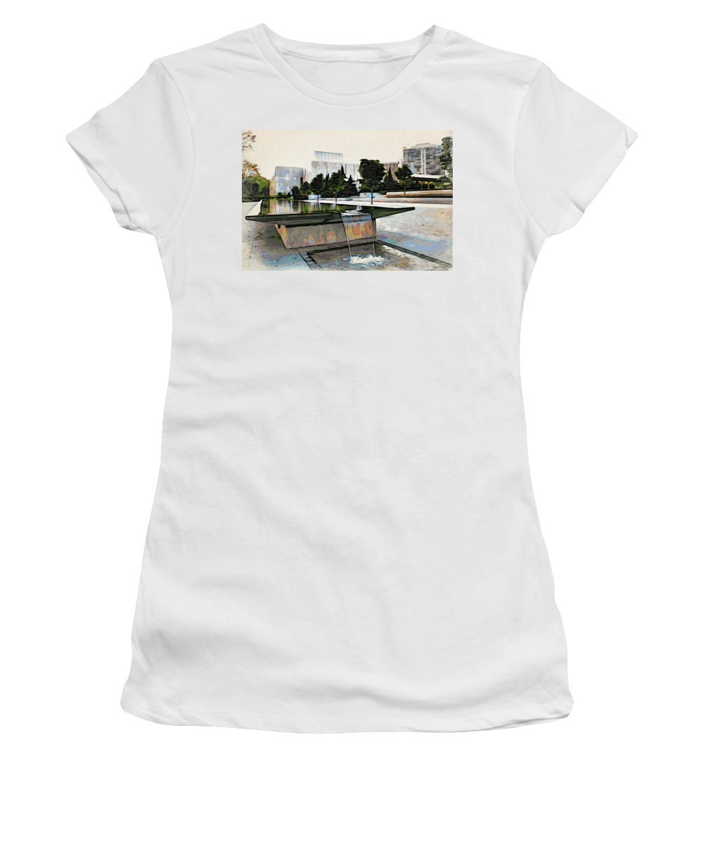 Barnes Museum Women's T-Shirt featuring the photograph Water Flows At The Barnes by Alice Gipson
