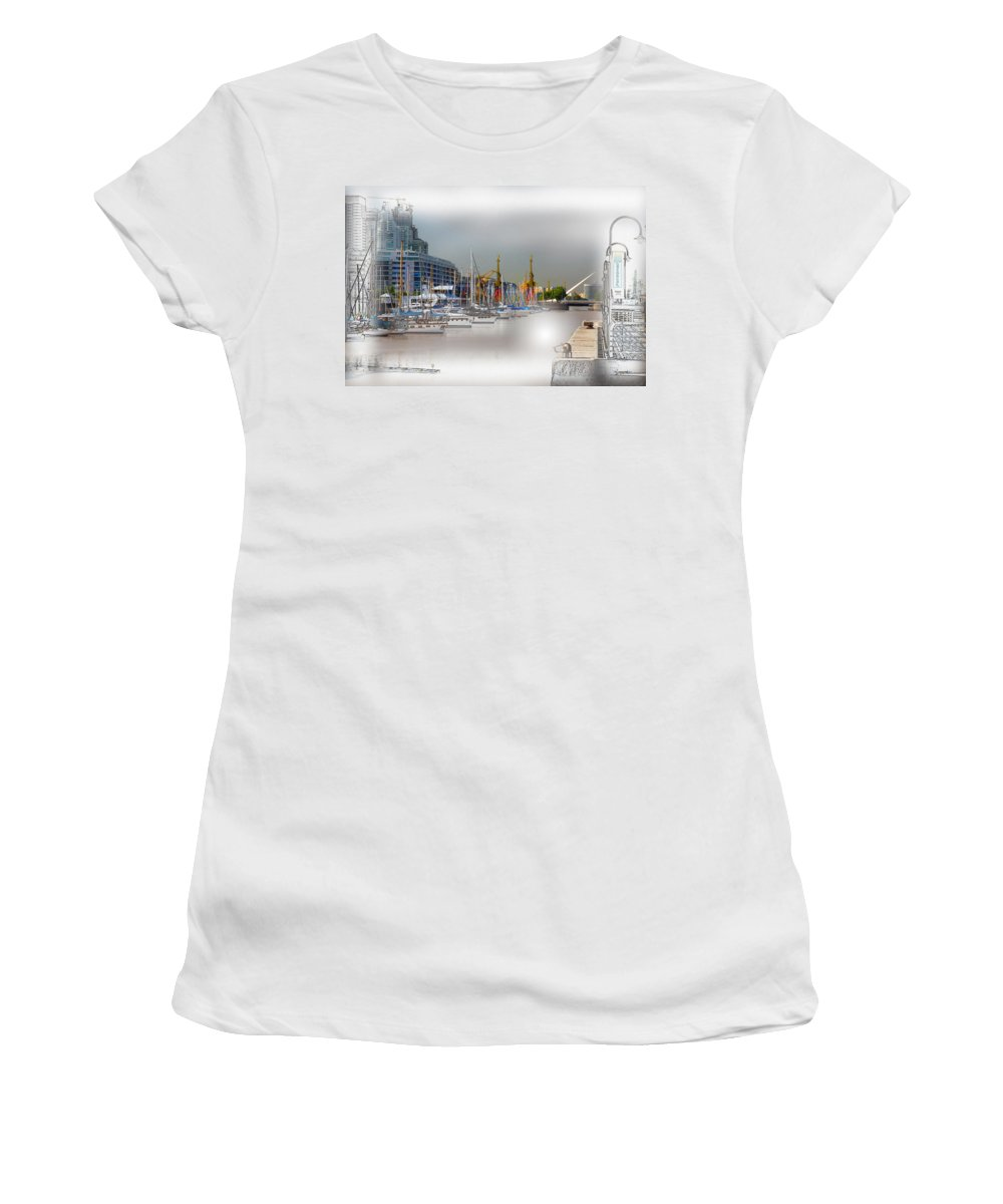 Water Women's T-Shirt (Athletic Fit) featuring the digital art Water Way Buenos Aires by Diane Dugas
