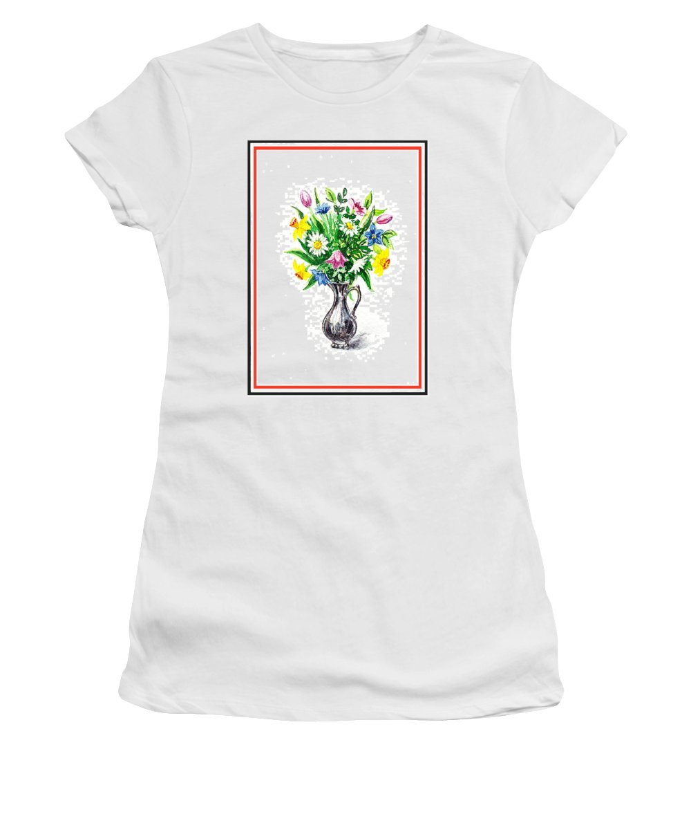 Watercolor Women's T-Shirt featuring the painting Watercolor Flowers Bouquet In Metal Pitcher Impressionism by Irina Sztukowski