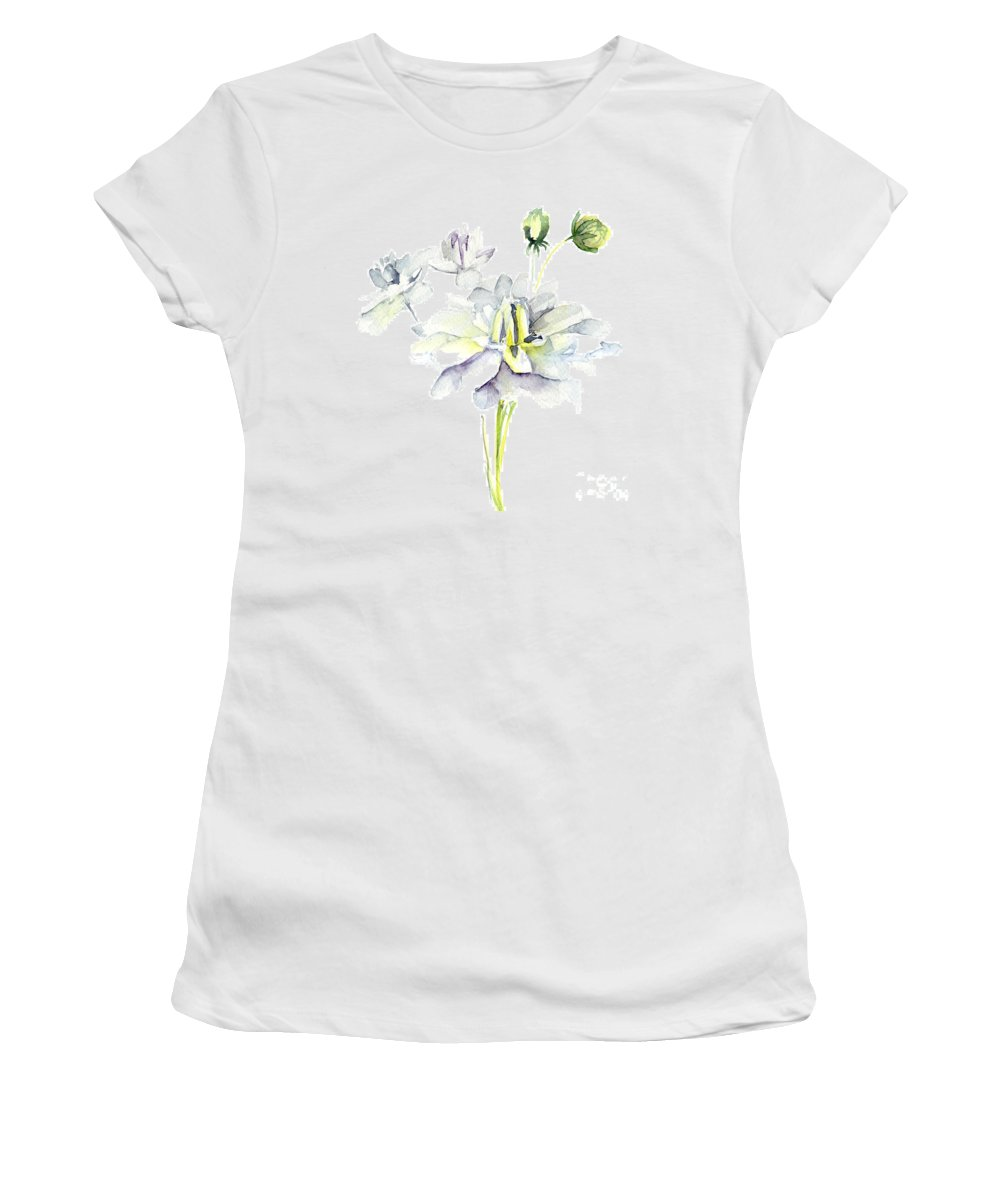 Background Women's T-Shirt featuring the painting Watercolor Illustration With Beautiful Flowers by Regina Jershova