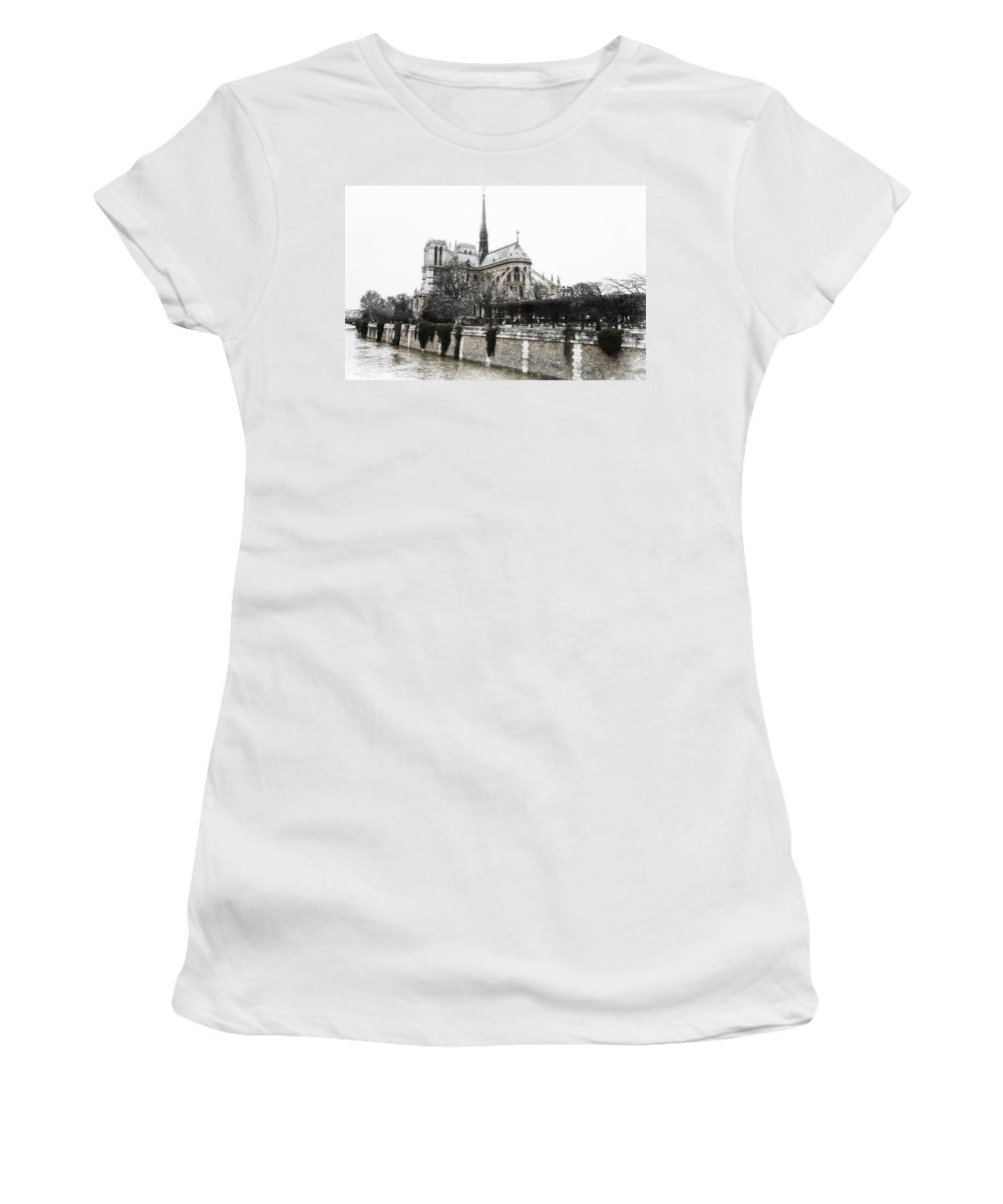 Evie Women's T-Shirt featuring the photograph Watercolor Notre Dame by Evie Carrier