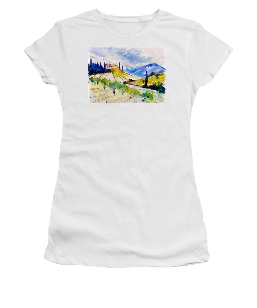 Landscape Women's T-Shirt featuring the painting Watercolor Toscana 317040 by Pol Ledent