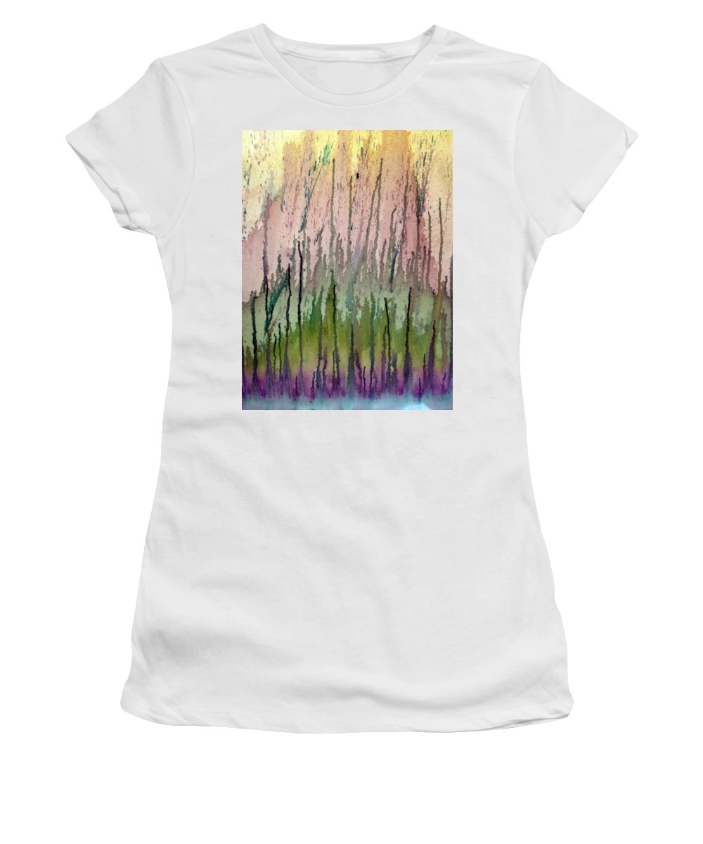 Water Women's T-Shirt (Athletic Fit) featuring the painting Watercolors Running by Lisa Stanley