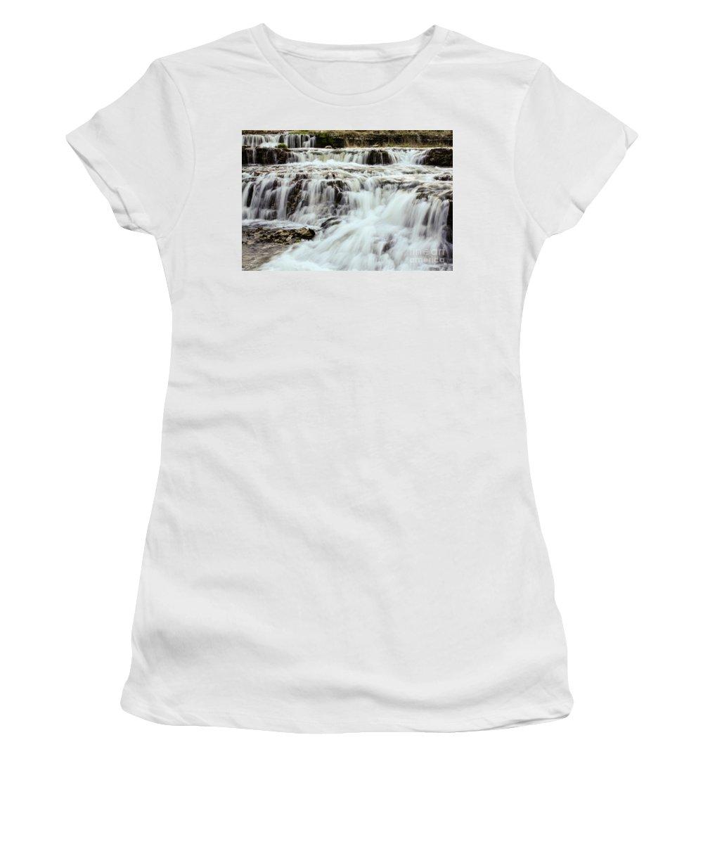 Waterfalls Women's T-Shirt featuring the photograph Waterfalls Flowing by Terri Morris