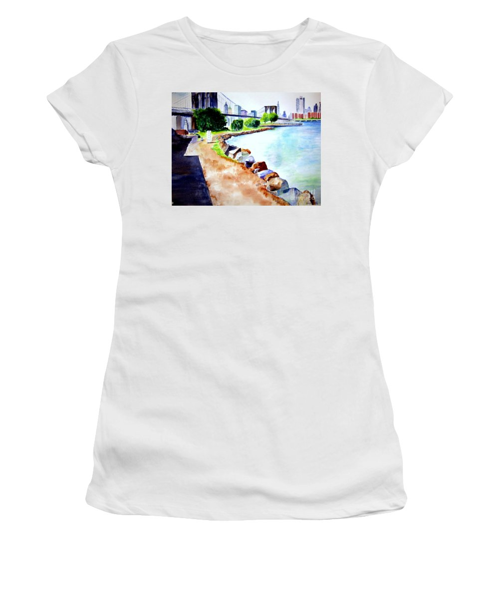 Dumbo Women's T-Shirt (Athletic Fit) featuring the painting Waterfront In Dumbo by Sandy Ryan