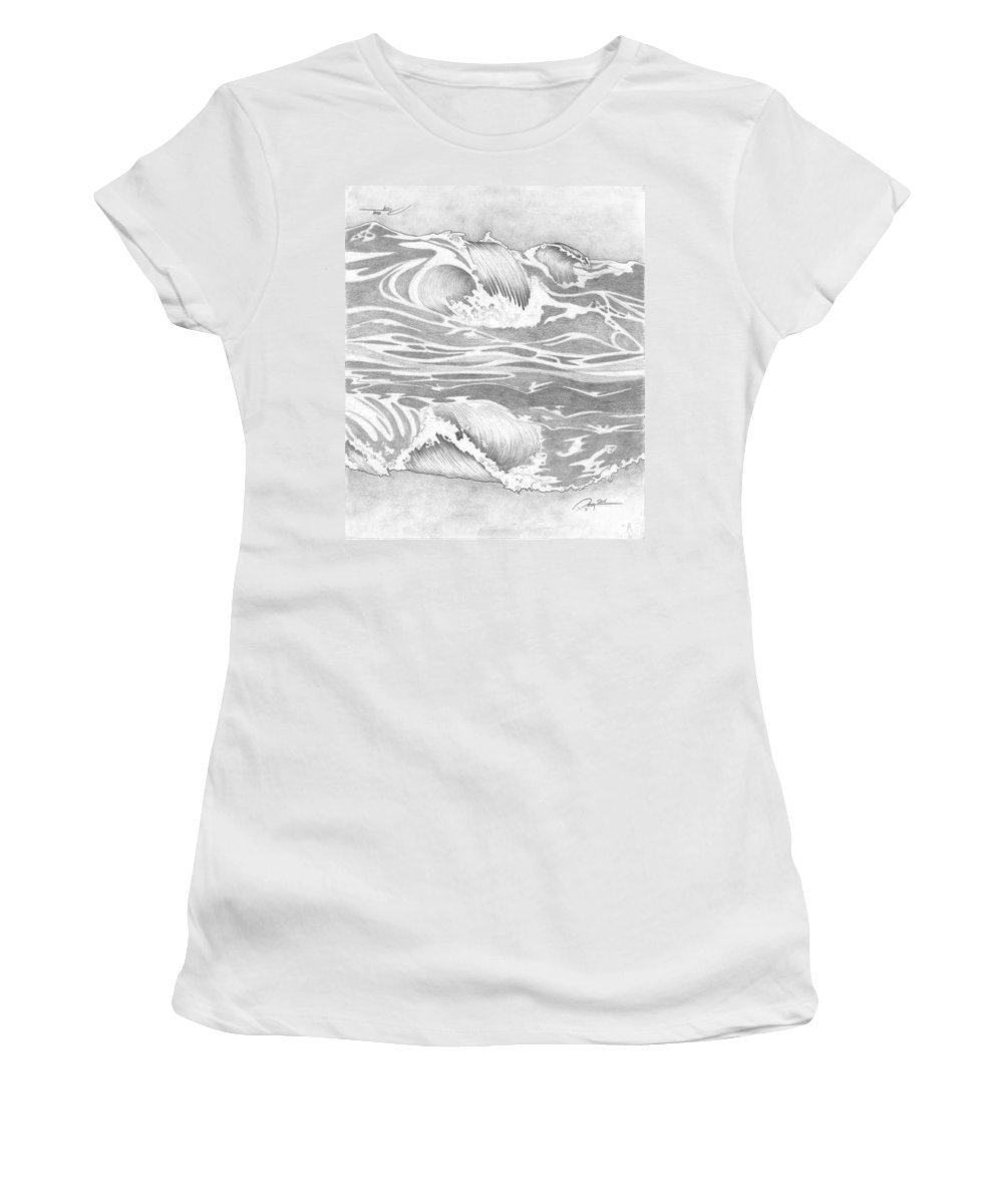 Ocean Wave Women's T-Shirt featuring the drawing Wave by Rick Yost