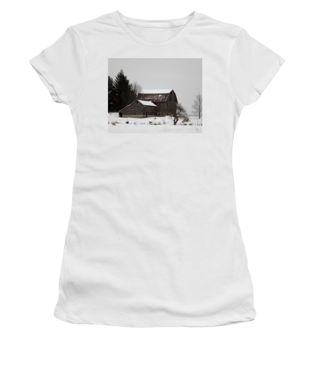Barn Women's T-Shirt (Athletic Fit) featuring the photograph Weathered Barns In Winter by Linda Kerkau