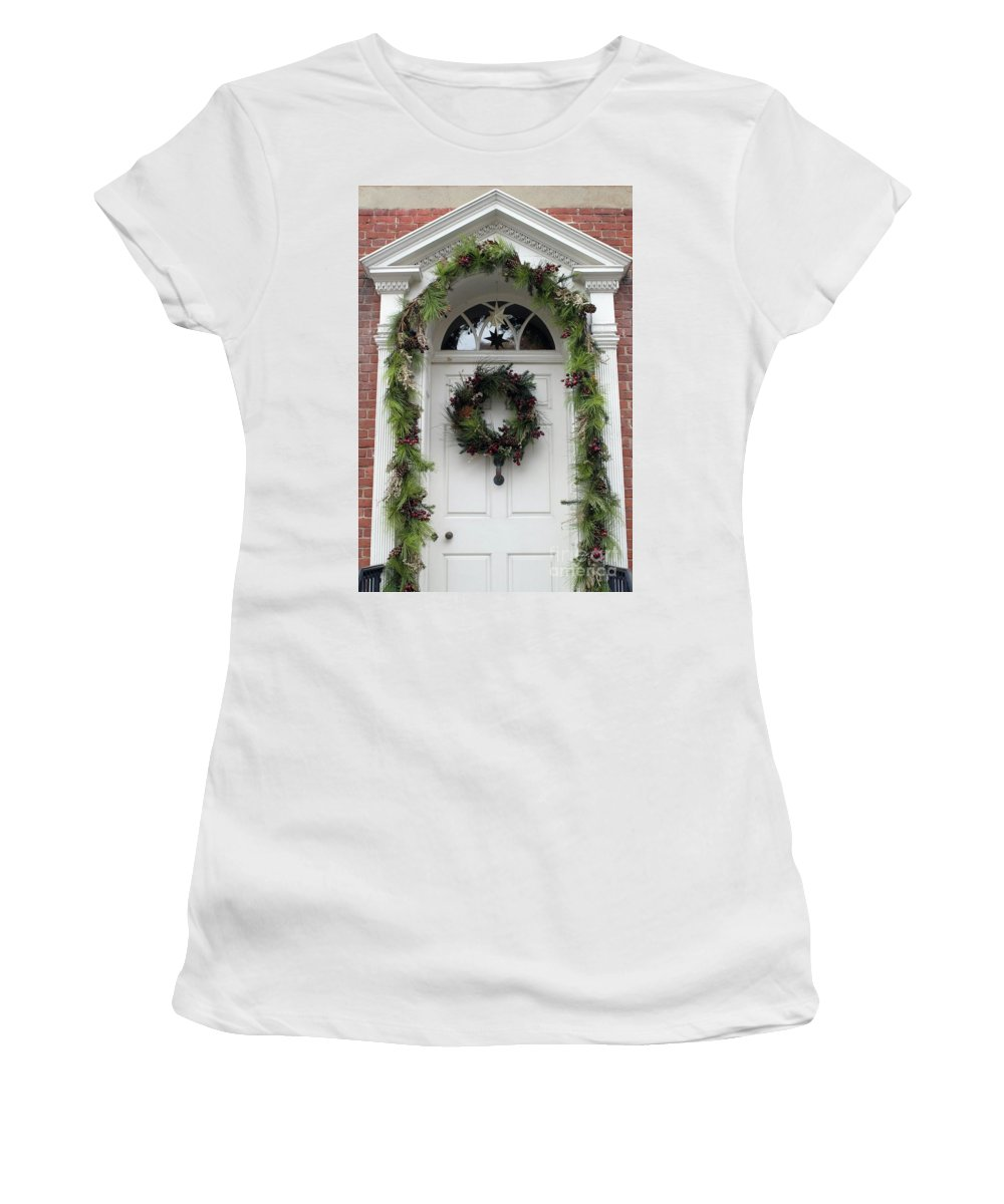 Door Women's T-Shirt (Athletic Fit) featuring the photograph Welcome by Living Color Photography Lorraine Lynch