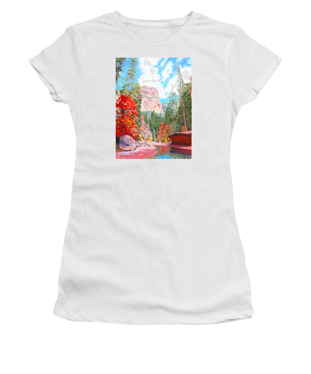 Sedona Women's T-Shirt (Athletic Fit) featuring the painting West Fork - Sedona by Steve Simon