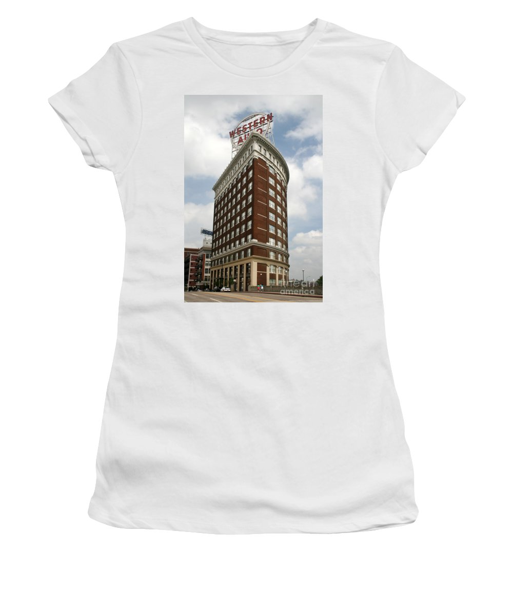 Kansas City Women's T-Shirt (Athletic Fit) featuring the photograph Western Auto by Crystal Nederman