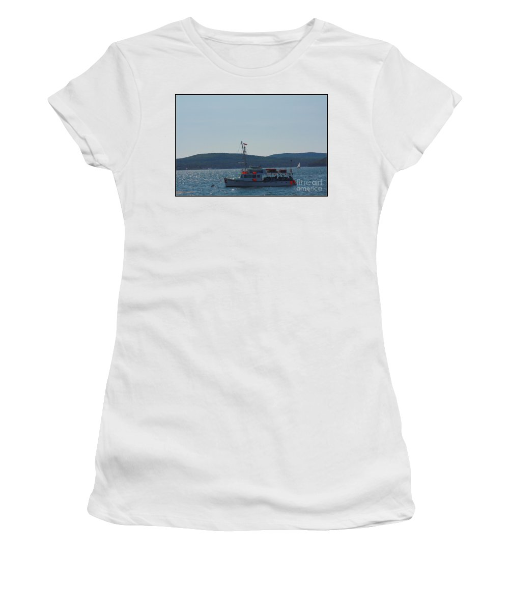Maine Women's T-Shirt (Athletic Fit) featuring the photograph Whale Watching At Bar Harbor by Dora Sofia Caputo Photographic Design and Fine Art