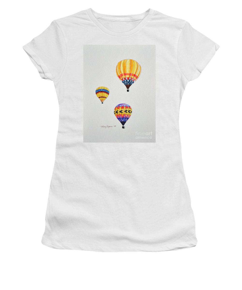 Balloons Women's T-Shirt (Athletic Fit) featuring the drawing What A Feeling by Mary Rogers
