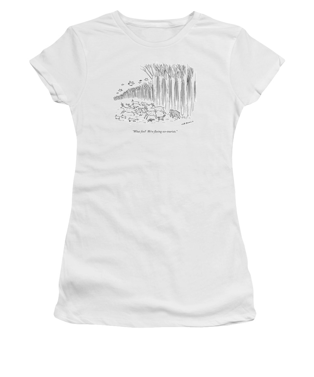 Deer Women's T-Shirt (Athletic Fit) featuring the drawing What Fire? We're Fleeing Eco-tourists by Nick Downes