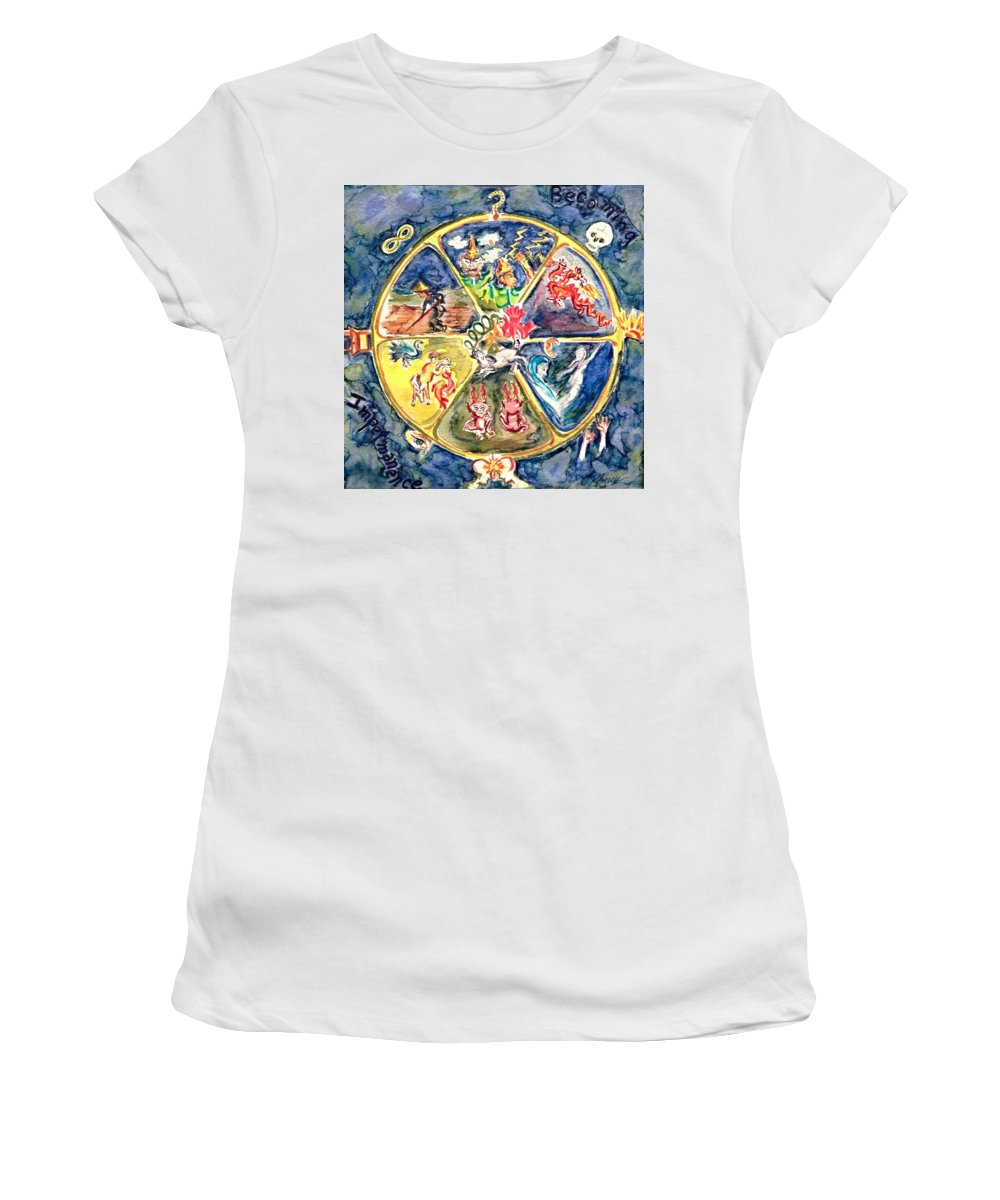 Buddhist Art Women's T-Shirt (Athletic Fit) featuring the painting Wheel by Christine Kfoury