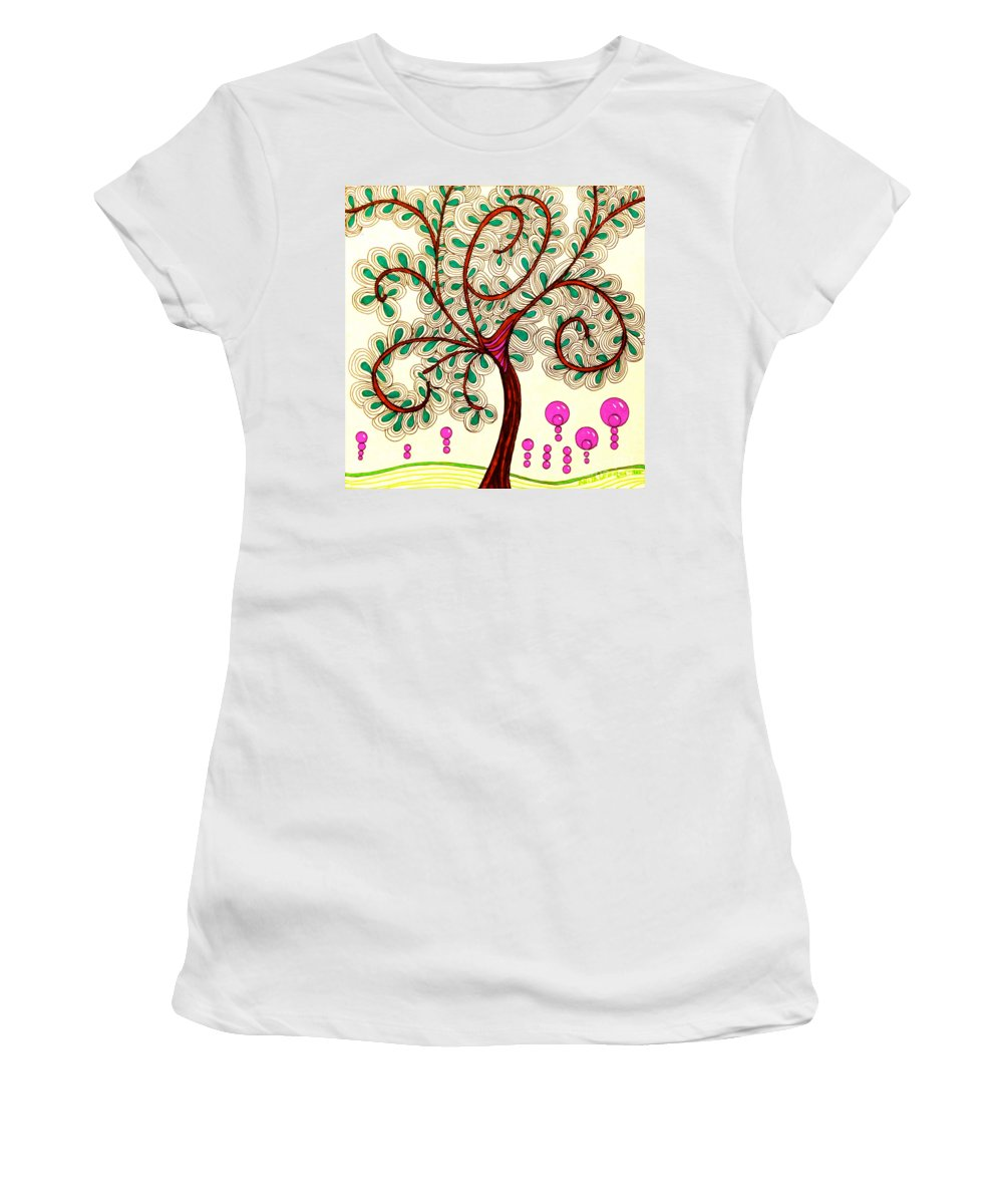 Whimsy Tree Women's T-Shirt featuring the drawing Whimsy Tree by Anita Lewis