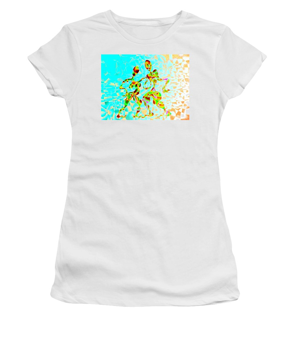 Genio Women's T-Shirt featuring the mixed media Whirling Tango by Genio GgXpress
