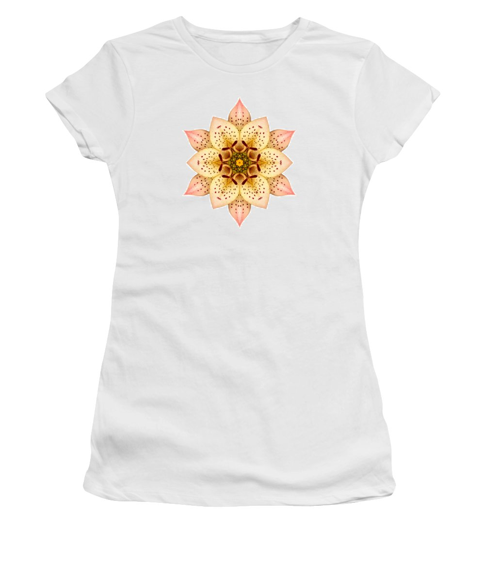Flower Women's T-Shirt featuring the photograph Asiatic Lily II Flower Mandala White by David J Bookbinder