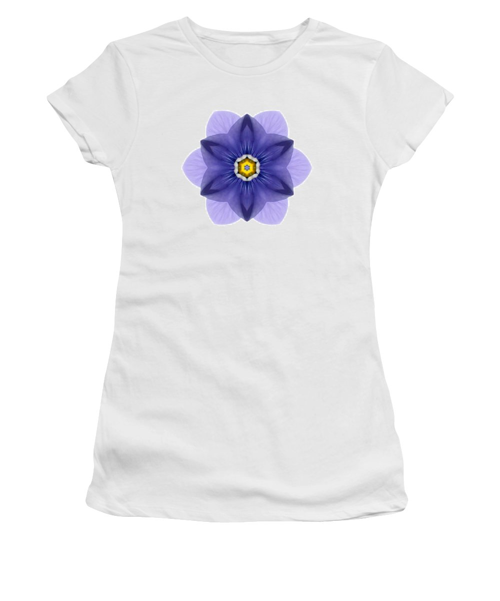 Flower Women's T-Shirt featuring the photograph Blue Pansy I Flower Mandala White by David J Bookbinder