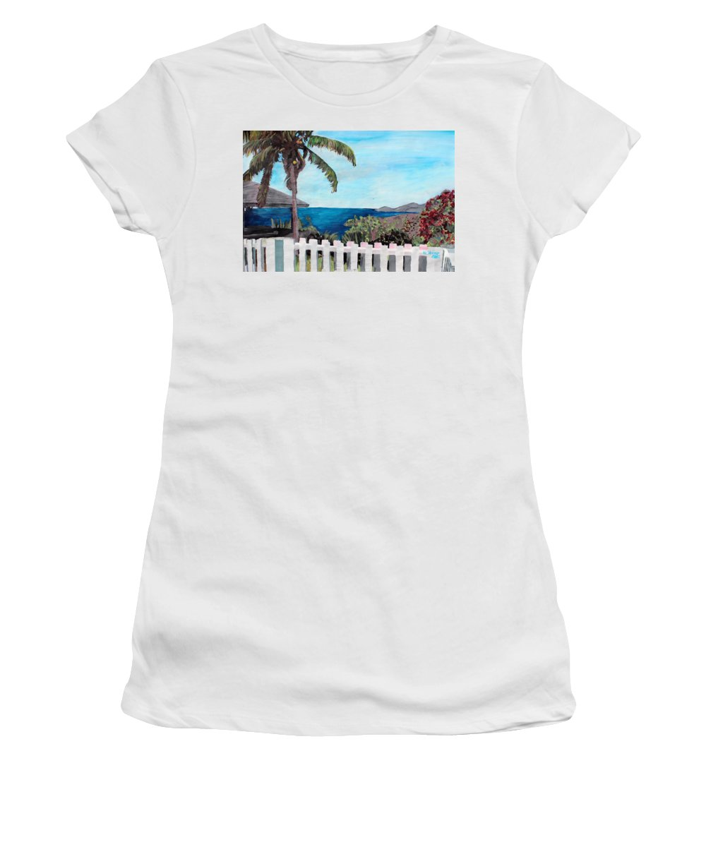 English Harbour Women's T-Shirt (Athletic Fit) featuring the painting White Fence At English Harbour Antigua West Indies by M Bleichner